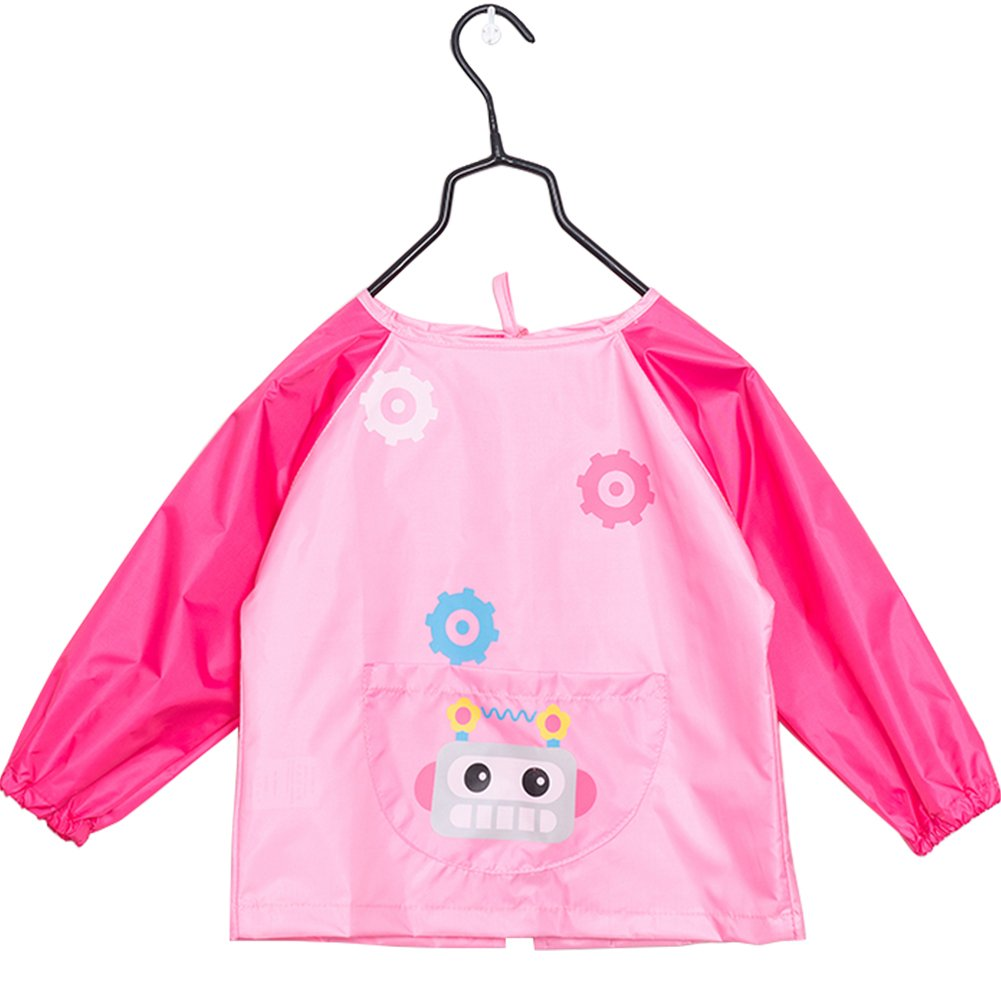 Creation Core Children Waterproof Art Smock Long Sleeve Kids Art Aprons Bib For Painting, Ages 6-9, Pink L(Pens and Brushes Not Included)