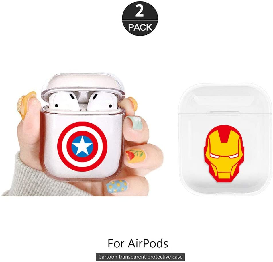 ZOEAST(TM) 2 Pack AirPods Case 1&2nd gen,All Transparent Light Clear Cartoon Portable Protective Cover Case [Front LED Visible] Compatible with Apple AirPods Earphone Charging Case (2pcs Hero)