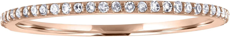 JewelMore 1/10 cttw 14k Gold Dainty Half Band Natural Diamond Wedding Anniversary Ring (G-H Color)