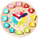 Clock Puzzle Bead Wooden Numbers Game Toddler Toy Montessori Early Learning