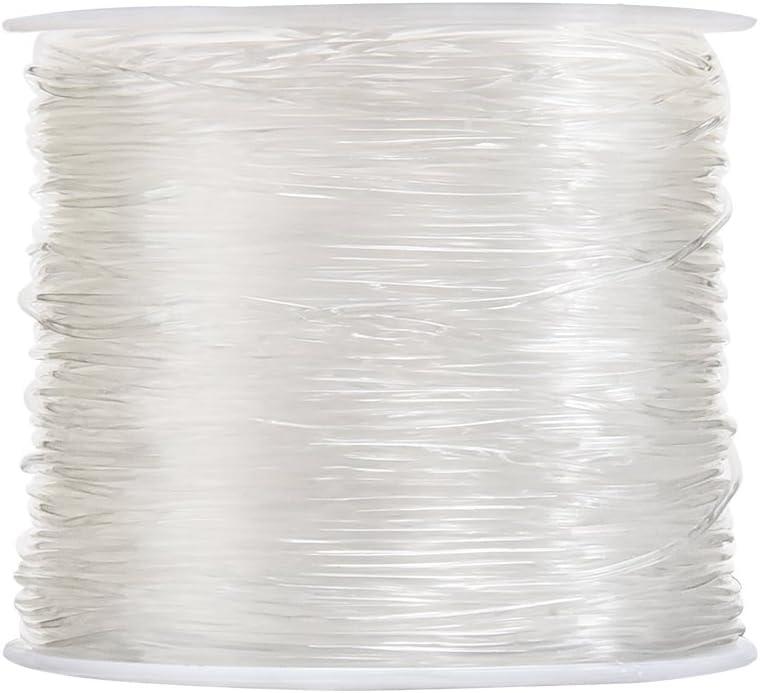 Hilo elástico de poliéster, transparente para hacer adornos con abalorio como pulseras y otras manualidades, de 0,8 mm, 50 m