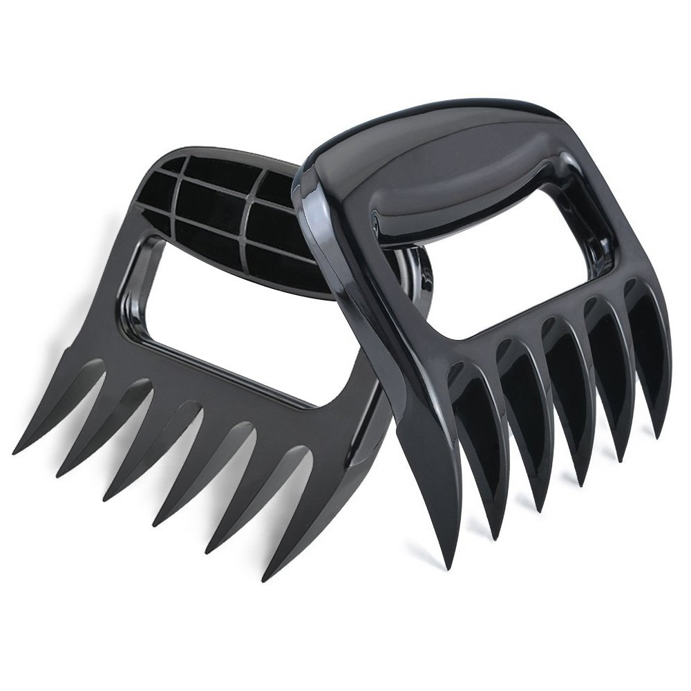AISOUL BBQ Meat Claws Solid Blades (2 Pack) - Barbecue Bear Paws Shredder Claws, Black