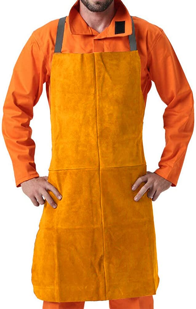 """MR CARTOOL Cowhide Leather Welding Apron 39"""" x 26"""", Thermal Insulation Protection Heat & Flame Resistant Safety Clothing Work Apron Bib for Welders Blacksmith Woodworking Unisex: Clothing"""