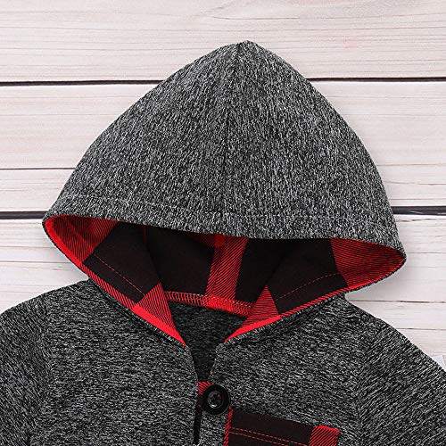 Toddler Infant Baby Boys Clothes Plaid Long Sleeve Hoodie Sweatshirt Pants Fall Winter 2Pcs Outfits Set