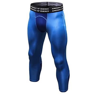 AiJump Homme Pantalon Leggings de Compression Gym Tight Running Fitness Jogging Séchage Rapide Baselayer Haut ALL-SEASON