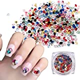 MEILIND 3D Nail Art Rhinestones Round Tiny Gemstone Multi Color Crystal Diamond Cellphone Case Decoration