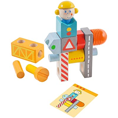 HABA Brain Builder Ben Stacking & Arranging Game with 14 Wooden Blocks & 20 Template Cards Ages 2-6: Toys & Games