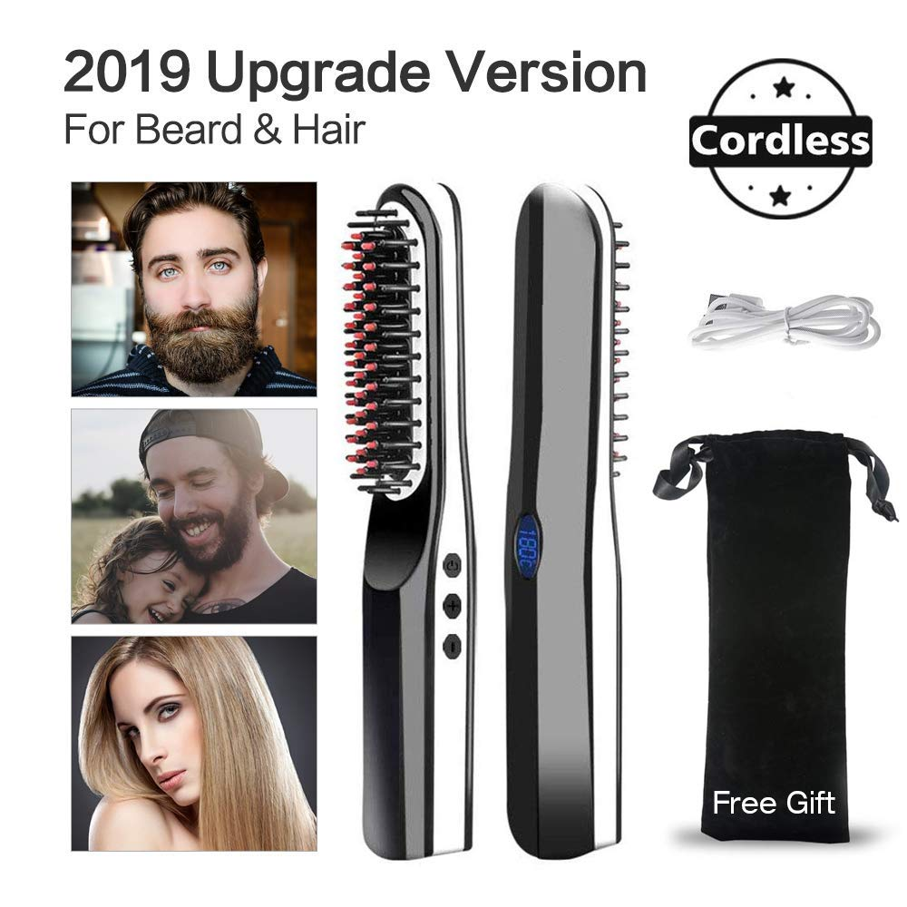 Cepillo alisador de barba, peine alisador de pelo para hombres ...
