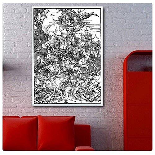 Alonline Art - Four Horsemen Apocalypse by Albrecht Durer | print on high quality fine art photo paper poster (Rolled) | 16