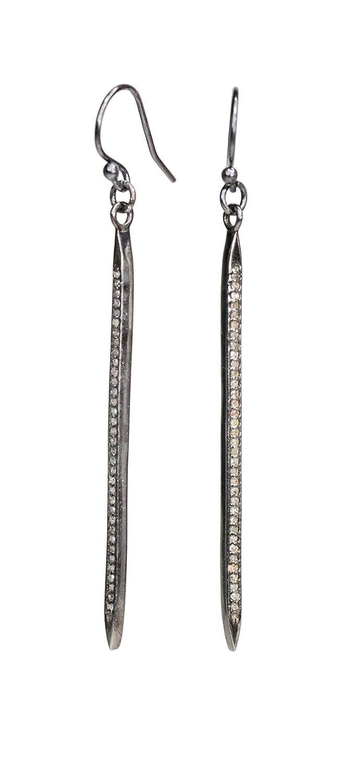 Spike Shape Diamond Pendant .925 Oxidized Sterling Silver Diamond Pendant Diamond Pendant.