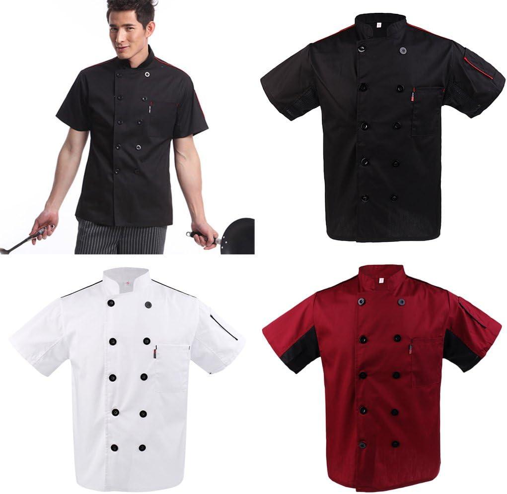 perfektchoice Unisex Chef Uniform Work Wear Cooking Cotton Short Sleeve Shirt Jacket Top M-3XL