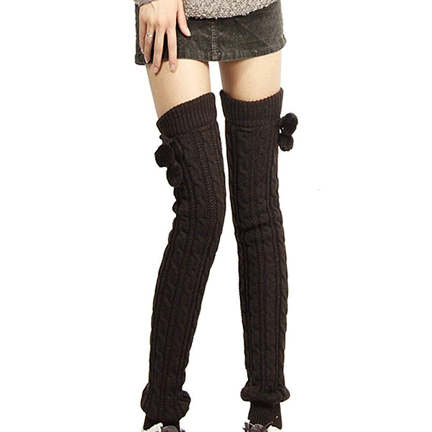 cd56e07b995 Sanwood Women s Braided Knitted Stocking Footless Leg Warmers (Black)   Amazon.co.uk  Clothing