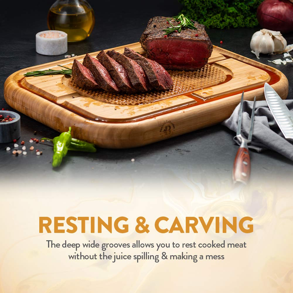 Bambusi Large Carving Cutting Board - 100% Natural Bamboo Meat Serving Tray with Deep Juice Grooves | Stabilizes Beef & Poultry While Chopping | Great Father's Day Gift Idea by Bambüsi (Image #3)