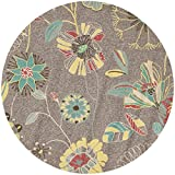 Safavieh Four Seasons Collection FRS482A Hand-Hooked Grey and Blue Indoor/ Outdoor Round Area Rug (6' Diameter)