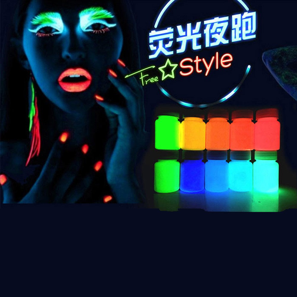 Glow in the Dark Paint, Transer DIY Acrylic Luminous Paint Bright Pigment Party Decoration 20g (E) by Transer (Image #3)