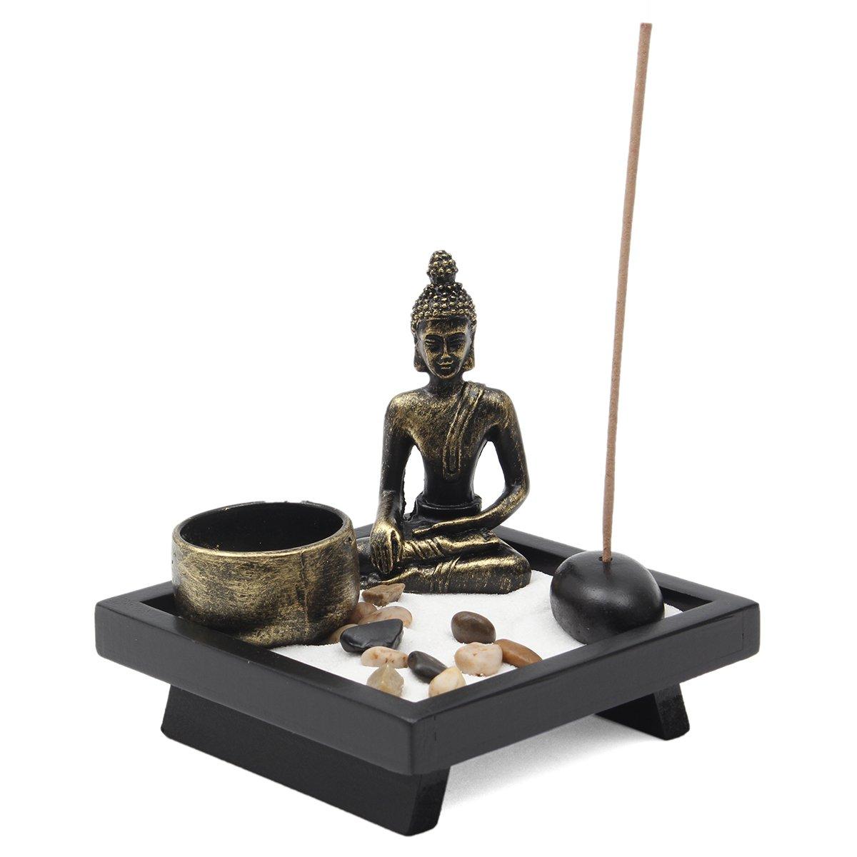 Jeteven Zen Buddha Head Ornament Statue Candle Holders Homware present Gift Set