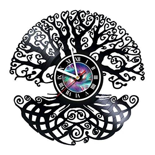 Magic Tree - Design - Handmade Vinyl Record Wall Clock - Artwork gift idea for birthday, christmas, women, men, friends, girlfriend boyfriend and teens - living kids room nursery- Customize your clock]()