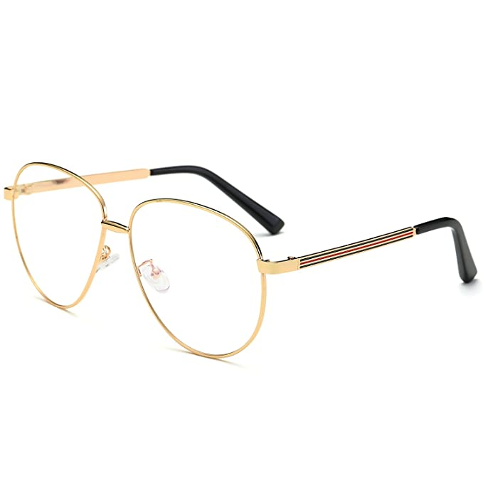 SojoS Aviator Clear Lens Metal Frame Men Women Glasses Eyeglasses ...