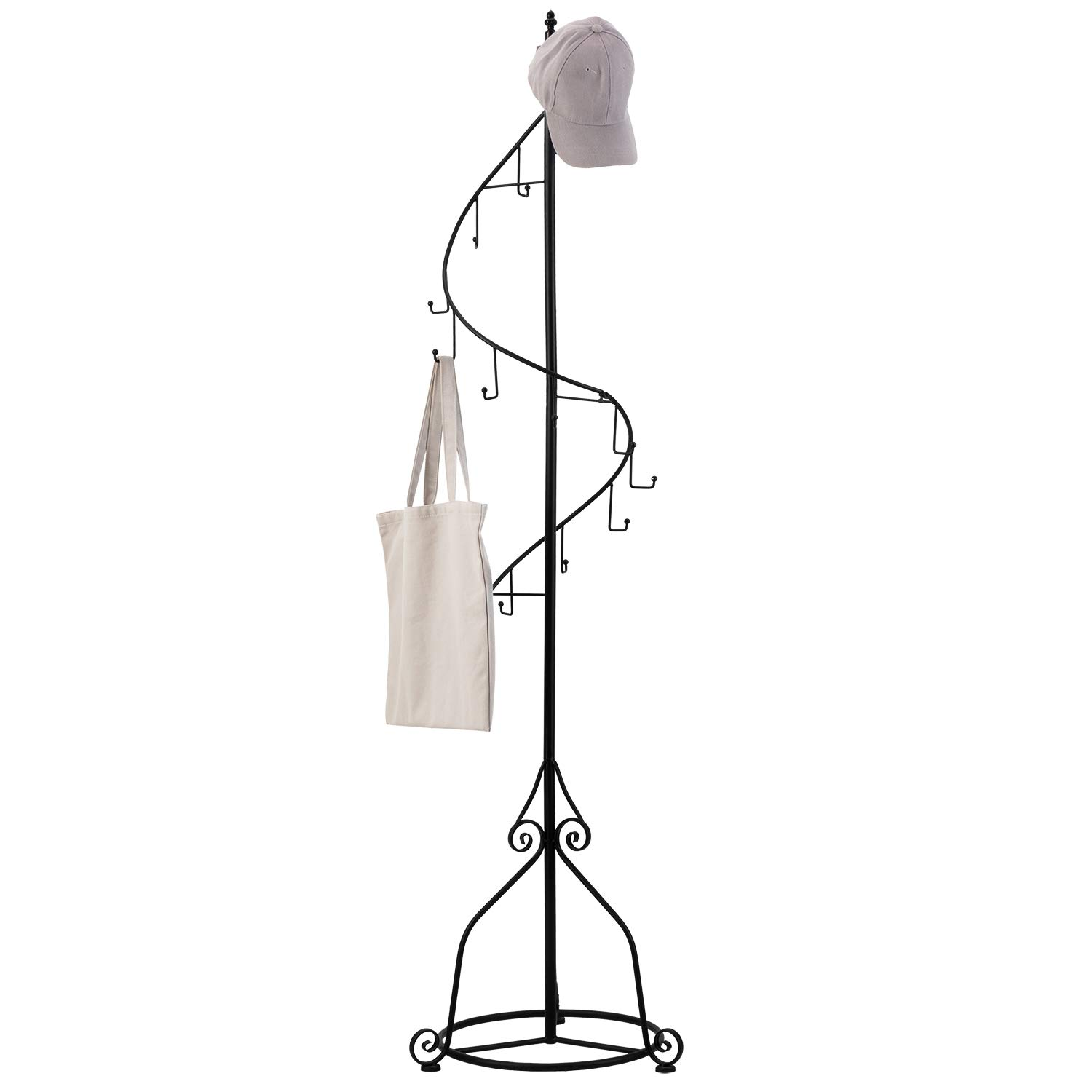 MyGift Elegant Black Metal 14 Hook Spiral Coat Hanger Bag Display Garment Rack Stand