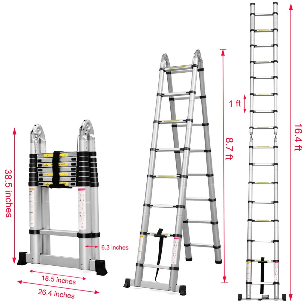 Finether 5M Aluminium Telescoping Extension Ladder Portable Multi ...