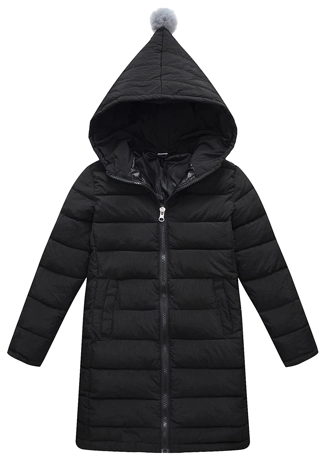SLUBY Kids Girls Warm Hooded Winter Outwear Padded Puffer Down Jacket Black 7-8Y 140CM