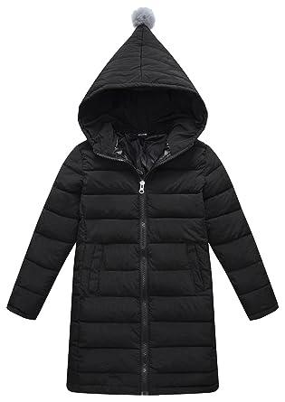 9cb9b2ecb Girls Lightweight Hooded Down Jacket Winter Warm Outerwear Solid Cute Puffer  Down Coat Black 5-