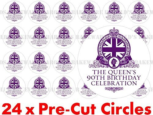 24 x 38mm pre cut queens 90th 90 birthday logo years street party on birthday cake queen st