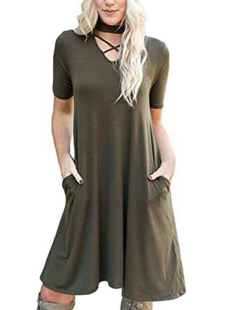 28905fd07d Lovezesent Sexy Cross Front Loose Fit Flare Tunic Midi Dresses for Women  Juniors Pockets T-