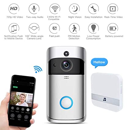 ZWN Smart Video Doorbell 2.0,720P HD WiFi Security Camera,Real-Time Video