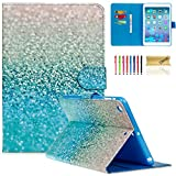iPad Mini Case, Mini 2/3 Case, Dteck(TM) Slim Fit Colorful Painting PU Leather Case with Stand Function Wallet Cover for Apple iPad Mini 3 2 1 (Shinning Blue Sand)