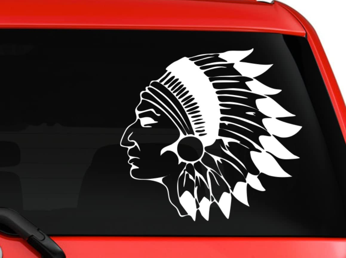 Native American Indian Chief With Beautiful Headdress car truck decal sticker