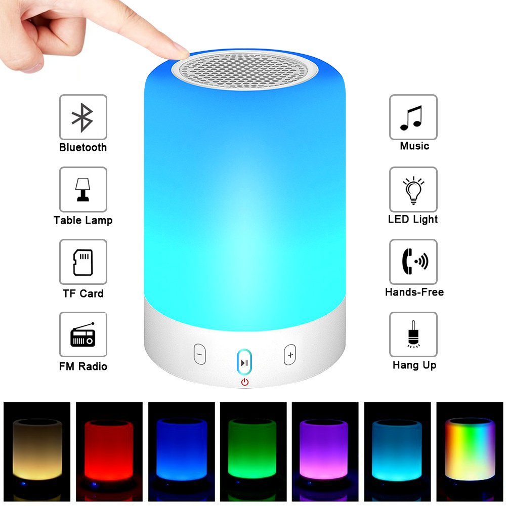 Bluetooth Speakers,POECES Hi-Fi Portable Wireless Stereo Speaker with Touch Control 6 Color LED Themes,Best Gift for Women and Children (Upgraded Version) by POECES