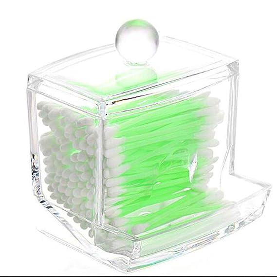 WYL Bastoncillo de algodón dispensador Titular-Farmacia acrílico encimera Caja de Almacenamiento Caja Tarro palillo de algodón Bola: Amazon.es: Hogar