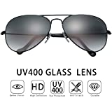 O-LET Black Aviator sunglasses Women Men Aviators-UV400 with Gift Case Unisex