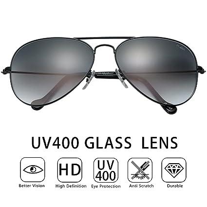 d5a53aabdcf9 O-LET Black Aviator Sunglasses for Women Men w/ UV400 Dark Grey Glass Lens