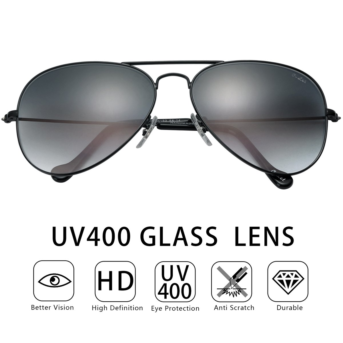 O-LET Aviator Sunglasses for Men Women Driving Fishing Glass Lens Aviators UV400 (62mm, Black Frame/aGrey Gradient Lens) by O-LET (Image #7)
