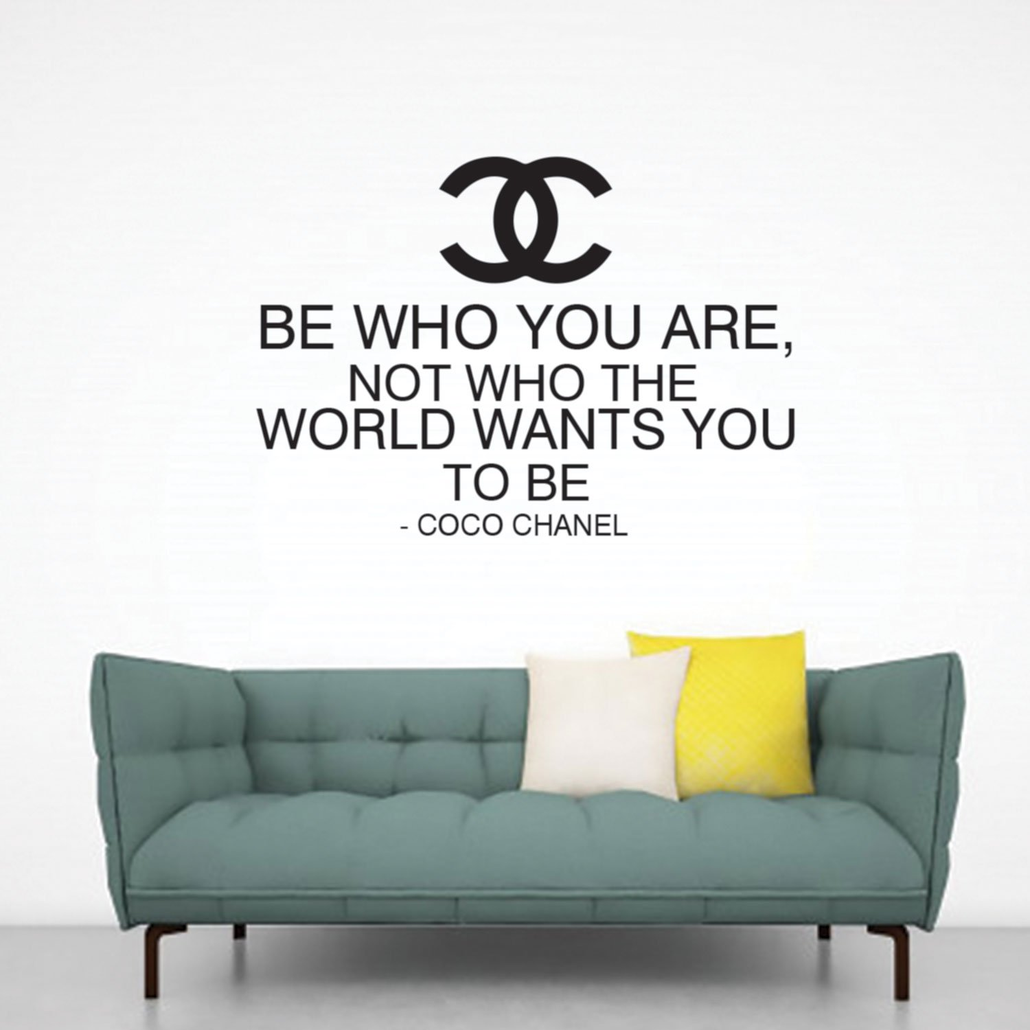 "Be Who You Are Not Who The World Wants You To Be - Coco Chanel Inspirational Quote - Wall Art Decal - 33""x 23"" - Fashion Quotes Vinyl Decal - Bedroom Wall Decoration - Living Room Wall Art Decor"