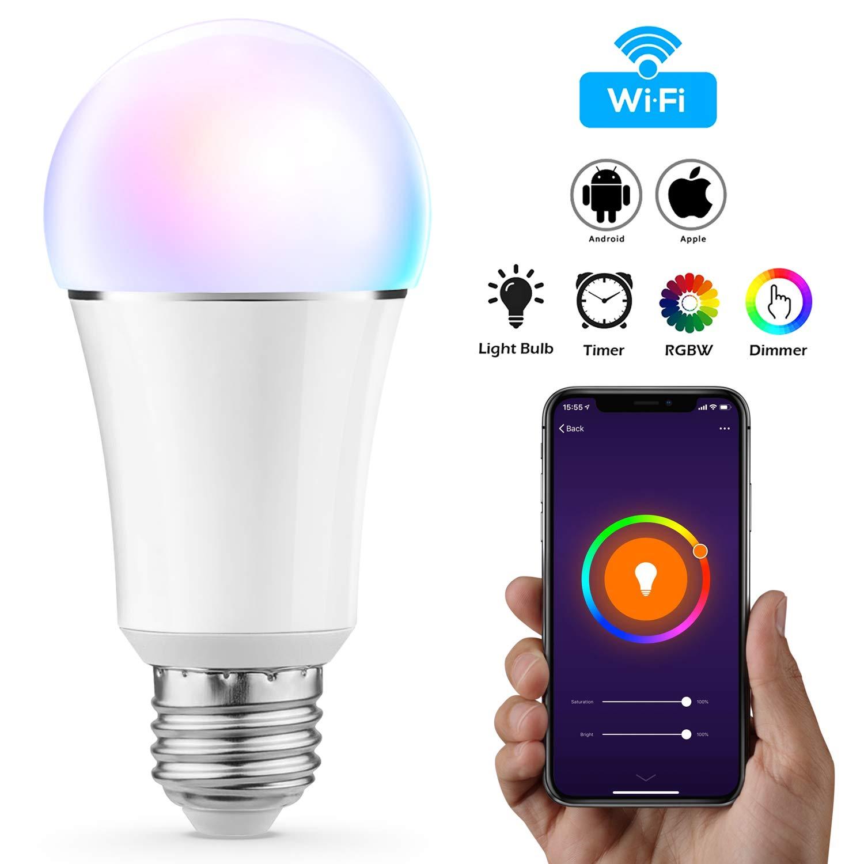 Vitutech Smart LED Lampe, Wifi Smart Birne(7W, E27) Smart Home Lampe, bunte Wlan Birne, via APP steuerbar Dimmbare, weiß es und buntes Licht, kompatibel mit Google Home,  Alexa Echo