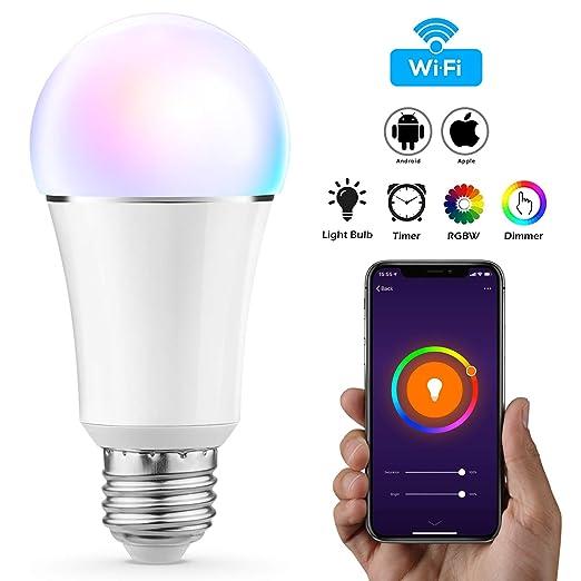 Vitutech Smart LED Lampe, Wifi Smart Birne(11W, E27) Smart Home Lampe, bunte Wlan Birne, via APP steuerbar Dimmbare, weißes u