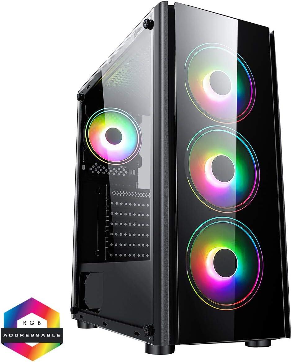 Listo para Enfriar el Agua 4 Ventiladores ARGB de 120 mm incluidos Soporte para 6 Ventiladores Negro bot/ón LED 3 Pines Aura Sync CiT Tornado ARGB PC Gaming Case ATX