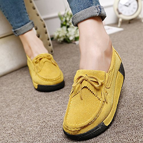 Shoes Flats Mocassini Platform Width Giallo Tassel Wedge Womens Woking Comfort Suede Ladies Hkr Wide x7SqI4C