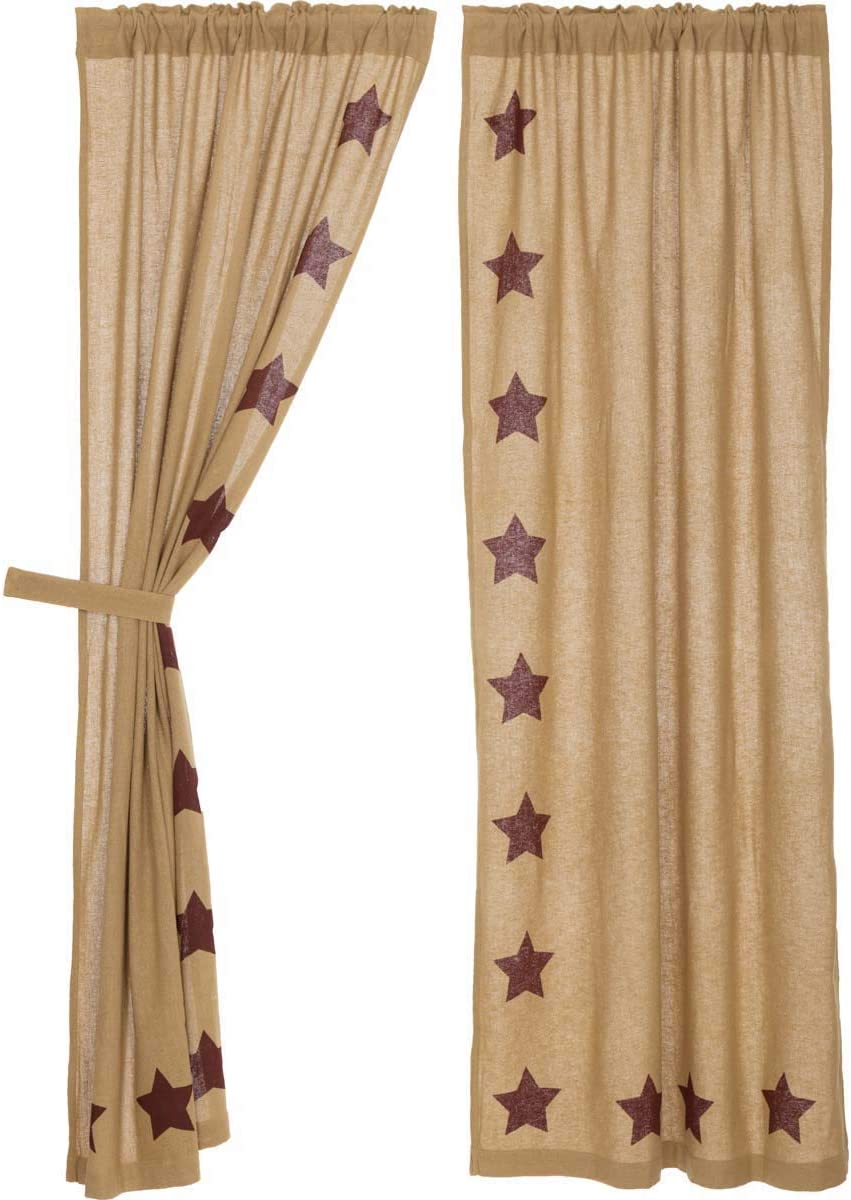 VHC Brands Burlap with Burgundy Stencil Stars Panel Set of 2, 84×40