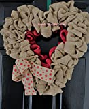 Valentines day Wreath, Burlap wreath , Heart Wreath,Wedding wreath, Rustic wreath , Outdoor wreath ,Front door Wreath,,Plain Wreath, Spring Wreath, Winter Wreath For Sale