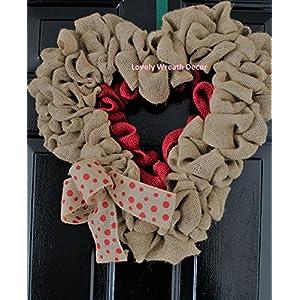 Valentines day Wreath, Burlap wreath , Heart Wreath,Wedding wreath, Rustic wreath , Outdoor wreath ,Front door Wreath,,Plain Wreath, Spring Wreath, Winter Wreath 89