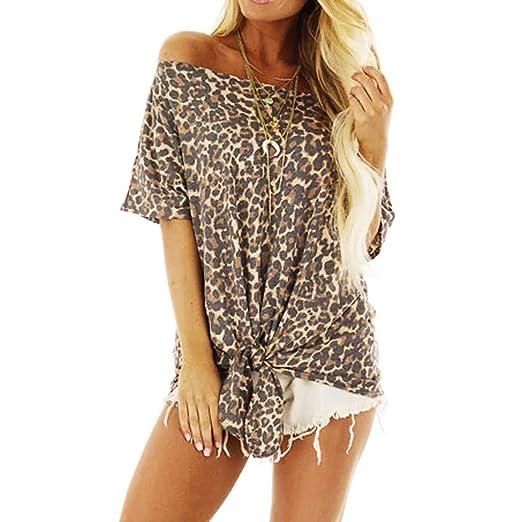 99bd28ab1146f LUNIWEI 2019 T-Shirt for Women Leopard Print Tops Vest Off Shoulder Blouse  Shirt Tee