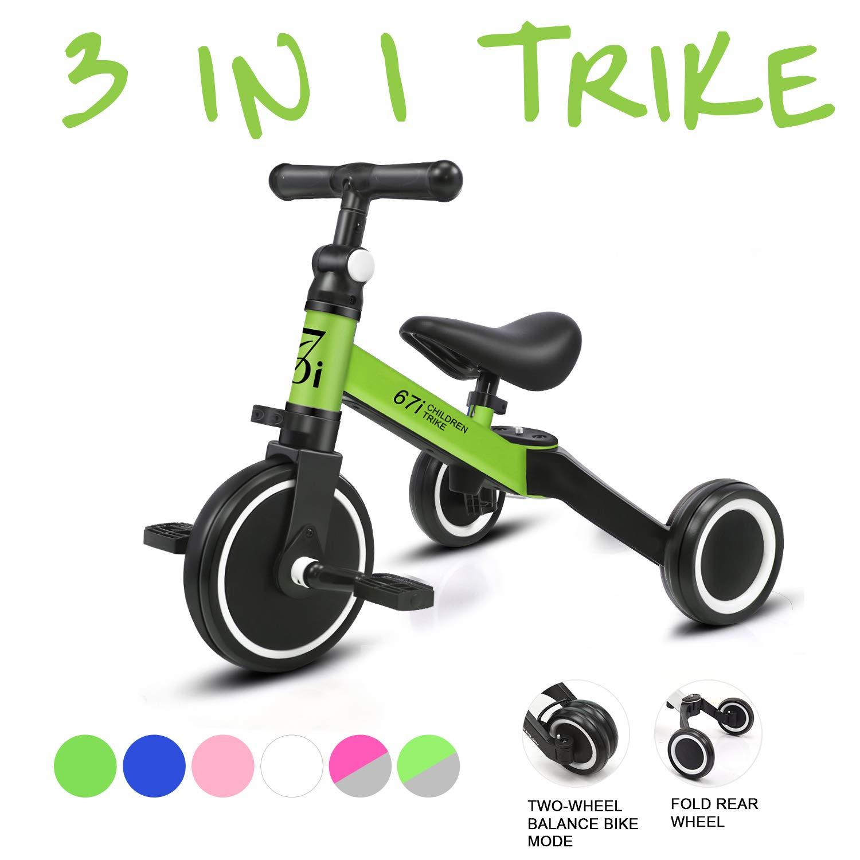 KORIMEFA 3 EN 1 Trciciclo Infantil para Niños Bicicleta de Balance con Pedales Desmontables Triciclo Plegable con 3 Ruedas Superligero para niños ...