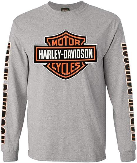 Harley-Davidson Men/'s Long Sleeve Orange Bar /& Shield Grey Shirt 30291963