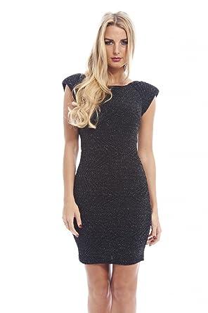 AX Paris Womens Metallic Fabric Shoulder Padblack Dress(Black Metallic, ...