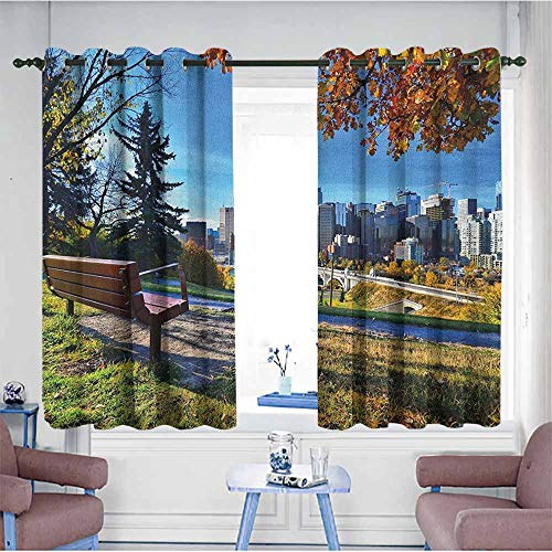 HOMEDD Kids Curtains,City Park Bench Overlooking The Skyline of Calgary Alberta During Autumn Tranquil Urban,Hipster Patterned,W72x45L Multicolor]()