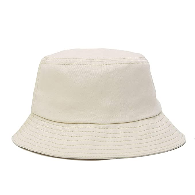 a869fdaad853c Solid Fashion Bucket Hats Summer Hat for Women Men Sun Cotton Flat Top Hat  Fisherman Hats